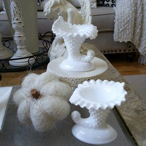 VINTAGE MILK Glass CORNUCOPIA CANDLE Holders